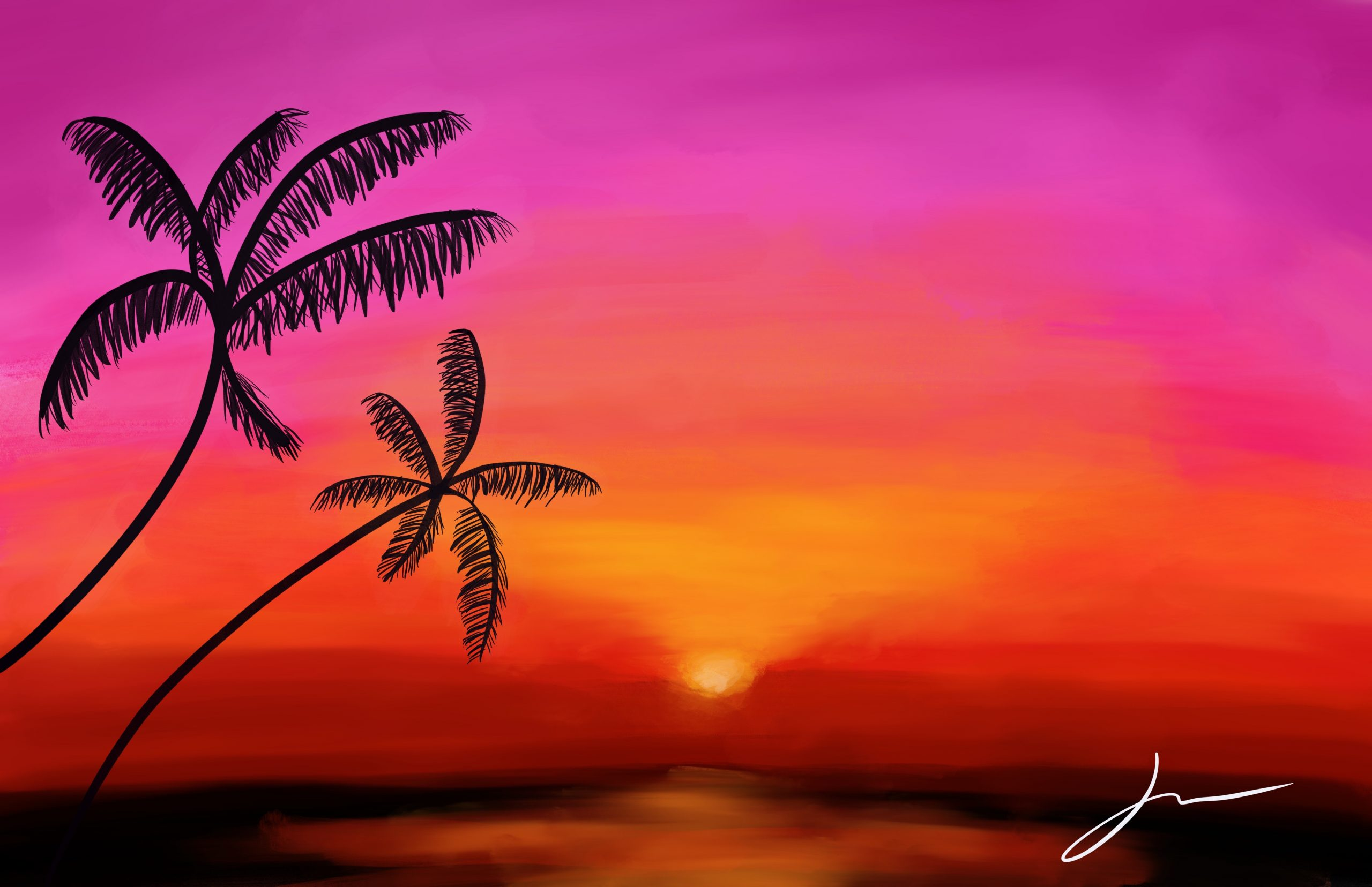 Tropical Sunset Digital Illustration