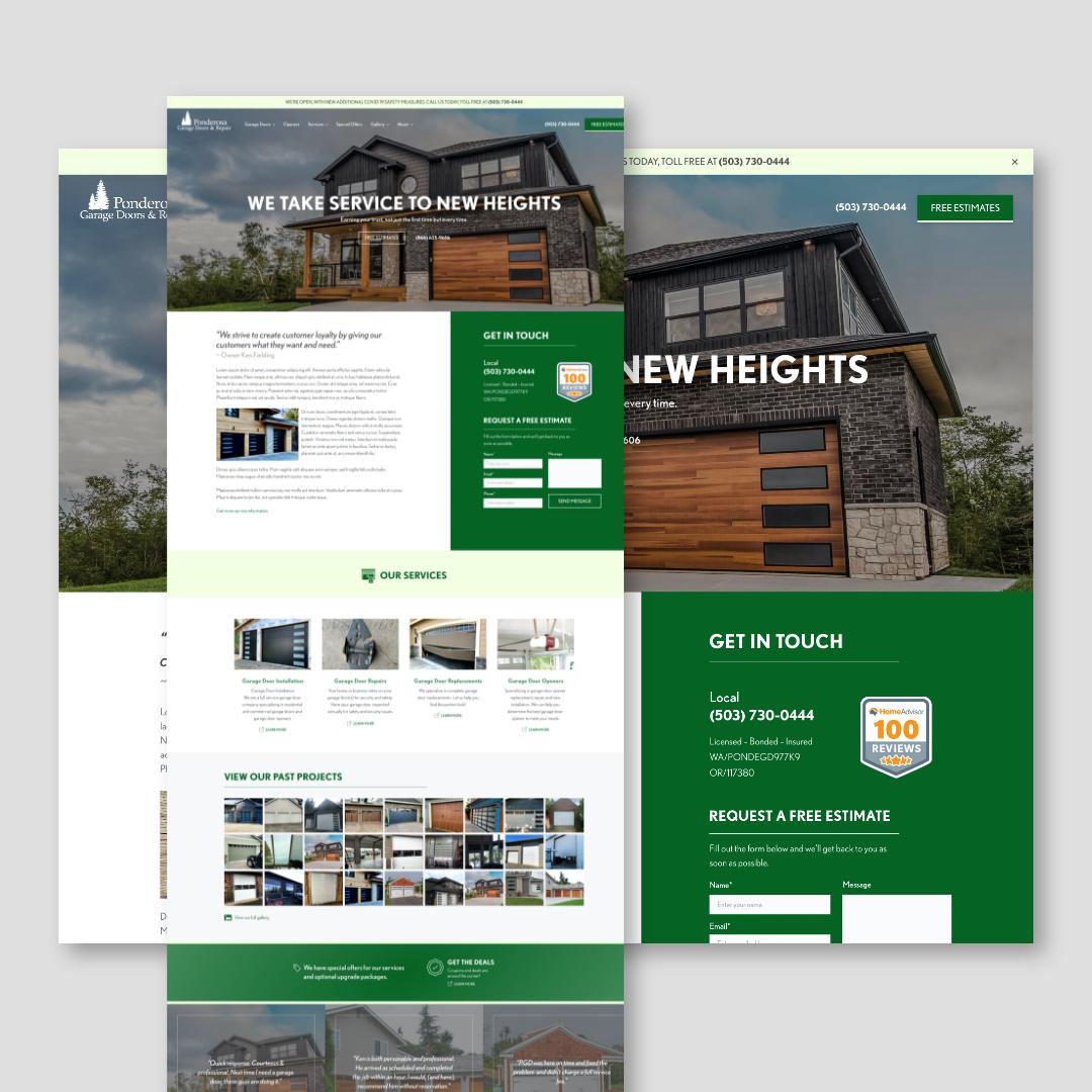 Ponderosa Garage Doors Website Design
